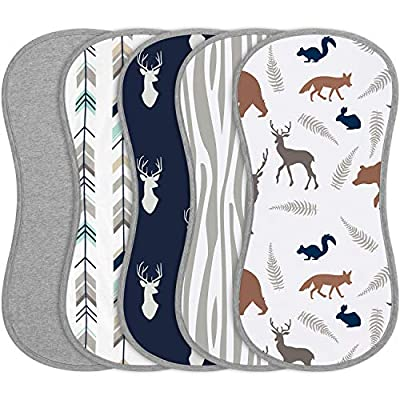 Babebay Burp Cloths for Baby Boys and Girls - Animal Design - 5 Pack 100% Combed Cotton Baby Burp Cloth Set, Extra Absorbent & Soft Burping Cloth, Baby Spit Up Cloth, Burp Cloth for Newborn