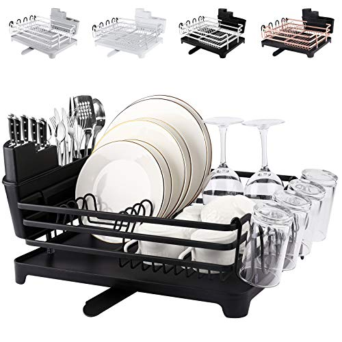 [Upgraded] ROTTOGOON Aluminum Dish Drying Rack, Compact Rustproof Dish Rack and Drainboard Set, Dish Drainer with Adjustable Swivel Spout, Removable Cutlery and Cup Holder, Black