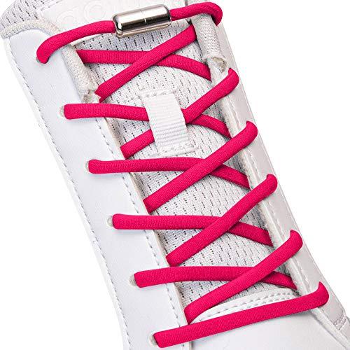 SULPO Elastische Schnürsenkel ohne Binden - Elastisch, mit Metall-Verschluss (Dunkelpink)