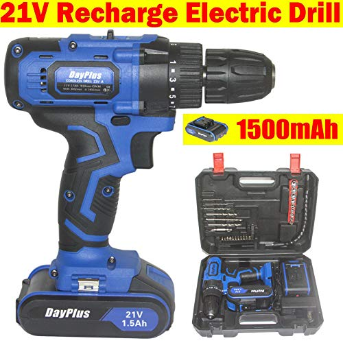 Powerful 21V Cordless Drill, 45N.m High Torque 45 N.m,Lightweight,1.5Ah Battery, Tail Hammer, Fast Charger, 350RPM Max Speed and 1400RPM, Variable Speed and 0.8-10mm Quick Chuck