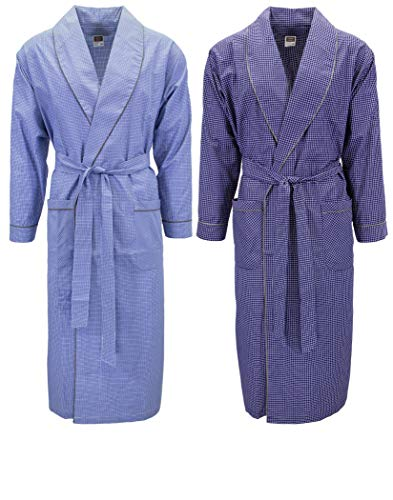 Mens 2 Pack Long Sleep Robe, Premium Cotton Blend Woven Lightweight Bathrobe (XX-Large/XXX-Large, 2 PK-Assorted Plaids)