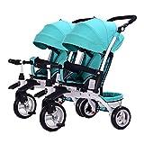 Unbekannt GUO@ Kinder Doppel-Dreirad Tragbare Zwei-Sitzer Baby Artefakt Twin Kinderwagen Schieben