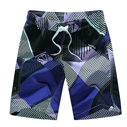 ShSnnwrl Pantalones Cortos de Hombre Fashion Men Summer Beach Shorts Bermuda Board Shorts M-XXXL XXXL Blue