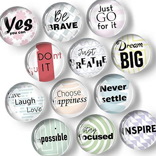 Magnete für Glasmagnettafel - Kühlschrankmagnete - Zitaten - Sprüche - Magnete Whiteboard - Kleine Lustige Magnete - Haftmagnet für Kühlschrank - Ideal für Motivation, Studium, Büromaterial - 12 Stk