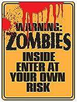 内部のゾンビブリキ看板ヴィンテージ錫のサイン警告注意サインートポスター安全標識警告装飾金属安全サイン面白いの個性情報サイン金属板鉄の絵表示パネル