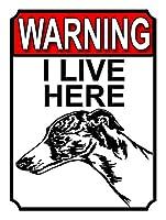 私はここに住んでいますティンサインの装飾ヴィンテージの壁金属の飾り額レトロな鉄の絵カフェバー映画のギフト結婚式の誕生日の警告