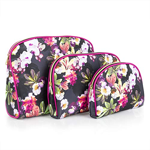Once Upon A Rose 3 Pc Cosmetic Bag Set, Purse Size Makeup Bag for Women, Toiletry Travel Bag, Makeup Organizer, Cosmetic Bag for Girls Zippered Pouch Set, Large, Medium, Small (Hot Pink & Floral)