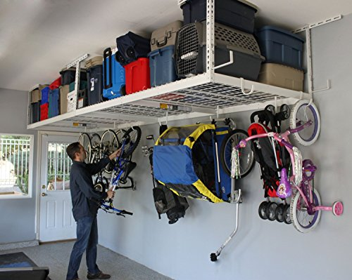 """SafeRacks Overhead Garage Storage Combo Kit   Two 4 ft. x 8 ft. Racks (18""""-33"""")   18pc Deluxe Hook Accessory Pack"""
