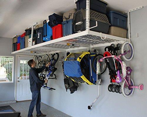 SafeRacks Overhead Garage Storage Combo Kit | Two 4 ft. x 8 ft. Racks (18'-33') | 18pc Deluxe Hook...