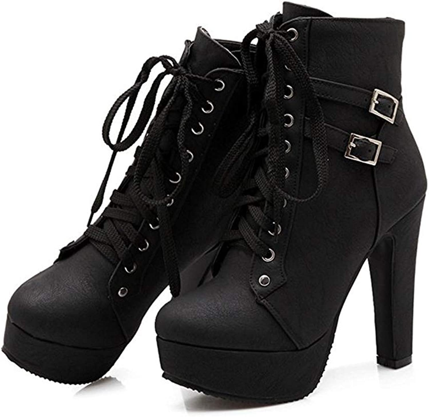 Women Round Toe Lace up Buckle Chunky High Heel Platform Knight Martin Boots