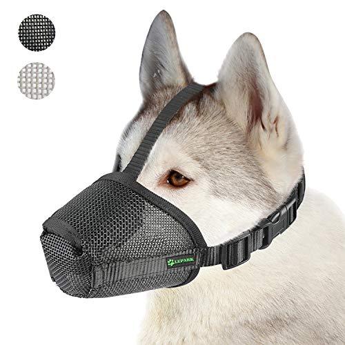 ILEPARK Nylonnetz Maulkorb mit Sicherheitsriemen für Kleine, Mittlere und Große Hunde, Verhindert Beißen, Bellen und Kauen (XL,Schwarz)