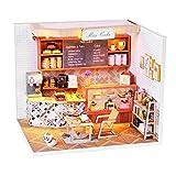 Casa de muñecas de Madera DIY con Muebles Kits de luz LED Pastel Miniatura Cafetería Modelo de construcción Rompecabezas Juguete Regalo Decoración para el hogar