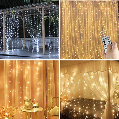 Curtain Light,8 Modes Lighting LED String Lights Remote Control USB Powered...