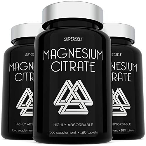 Magnesium Citrate Tablets 400 mg - 180 Tablets - High Strength Magnesium Supplements for Women & Men - UK Made & Vegan - 1400mg Chelated Magnesium Citrate Providing 400mg Elemental Magnesium Serving