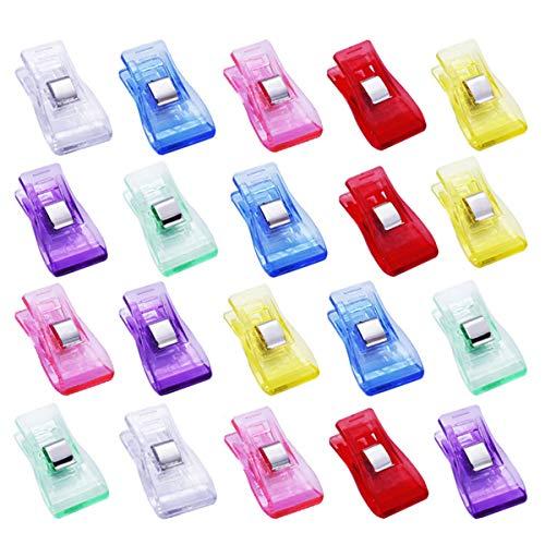 D&D 100個入り仮止めクリップ 多機能 7色アソート 裁縫クリップ スタンドクリップ プラスチック製 透明 縫製道具 工芸品 裁縫用品