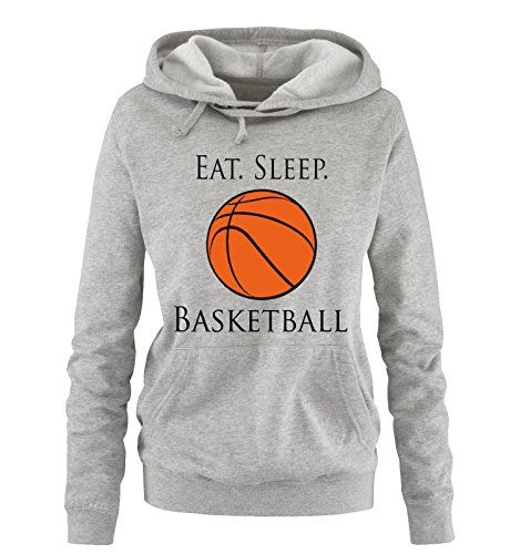 Comedy Shirts - EAT. Sleep. Basketball - Damen Hoodie - Grau/Schwarz-Orange Gr. L