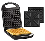 Senya SYCK-WM015 - Gofrera reversible para 4 gofres o 4 sándwiches (1200 W), color negro