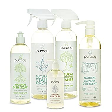 Puracy Home Care Set, Natural Household Cleaners and Soaps, Nontoxic Housewarming Gift, [Pack of 5]