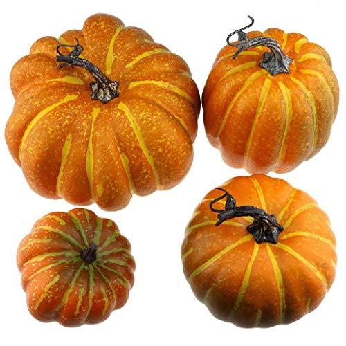 Gresorth 4 Stück Fälschung Kürbis Künstlich Gemüse Herbst Halloween Christmas Dekoration