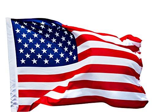 USA Fahne 90 x 150 cm, Flagge Vereinigte Staaten Amerika, aus Stoff mit doppelt umsäumten Fahnenrand, 2 Messing-Ösen, für Fahnenmast (ohne Stab) 12 Sterne, Stars and Stripes amerikanische Fanartikel