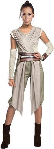Horror-Shop Star Wars 7 Kostüm Rey Damen Deluxe 5-tlg Hemd mit Sch e Hose Gürtel Armstulpen Manschette Natur Sand Beige
