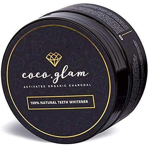 Coco Glam Aktivkohle Zahnpasta, Kokosnuss Pulver für weiße Zähne, Zahnaufhellung Zähne bleichen, Zahn aufhellen, Beauty Glam (geschmacklos)
