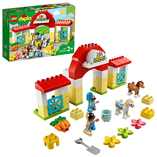LEGO10951DuploEstabloconPonis,JuguetedeconstrucciónparaNiñosdea Partir de 2añosconFiguritasdeJinetesyCaballos