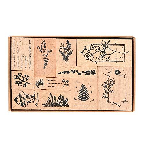 Hölzern Stempel Set, NogaMoga 12 Stück Stempel aus Holz mit Natur Pflanzen und Etikett Motive, Vintage-Stil Dekorative Stempel für die Herstellung von Karten, Kunsthandwerk und DIY Scrapbooking