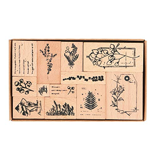 Wooden Rubber Stamps, NogaMoga 12pcs Plant Patterns Rubber Stamp with 11 Sizes, Decor Stamps for Card, DIY, Paper Craft, Bullet Journal, Photo Album, Hand Book, Planner, Scrapbooking