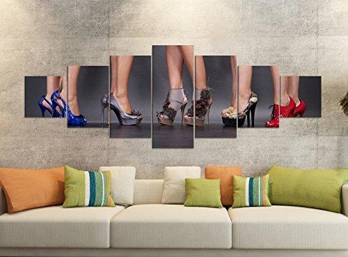 Leinwandbilder 7 Tlg 280x100cm Schuh Sexy Schuhe Frau high Heels Kleid Beine Leinwand Bild Teile...