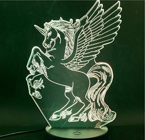 Pegasus Eenhoorn Vliegend paard 3D lampsfeervol Animal Cool prijs voor peuters touch sensor LED nachtlamplamp afstandsbediening bluetooth control kleur
