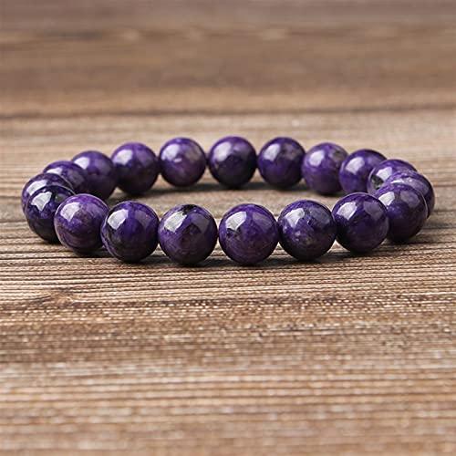Brazalete Encantado Joyería de Moda 6/8 / 10mm Piedras de Charoite Perlas Sueltas Pulsera Charms Yoga Mujeres Meditación Amuleto (Color : Charoite, Item Diameter : 10mm 19beads)