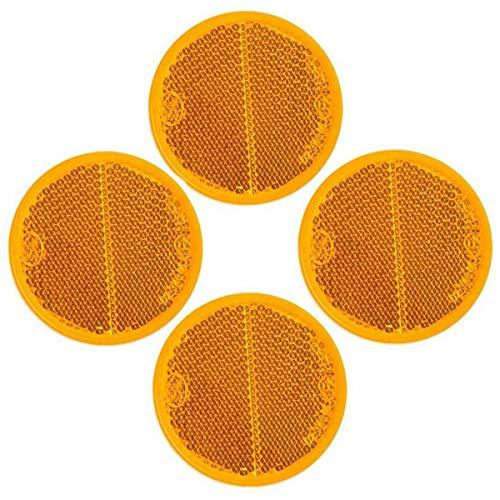 ADHW 4 x Reflektor Orange rund Ø55 klebend Anhänger Rückstrahler Seitenstrahler gelb