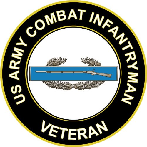 U.S. Army Combat Infantryman CIB 1st Award Veteran Window Bumper Sticker Decal 3.8""