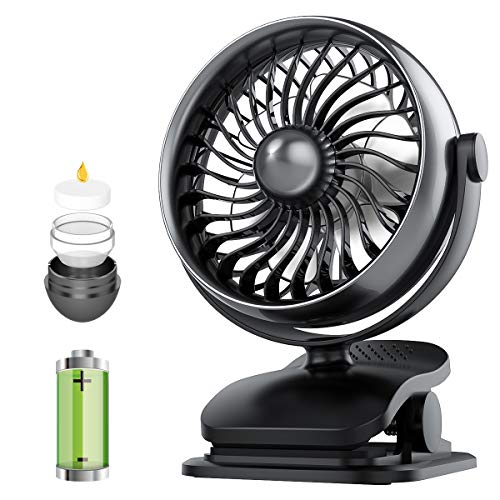 Battery Operated Clip on Stroller Fan, Portable Mini Desk Fan Rechargeable, USB Powered Personal Fan for Baby Stroller Office Outdoor Travel