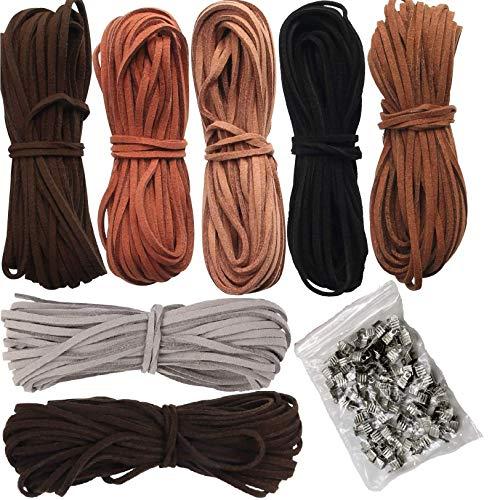 ANKKY Lederschnur 5M x 3mm Lederband Leder Schnur Faux Faden 7 Stück 7 Farben mit 100pcs Schnurenden für DIY Armband Halskette Schmuck Handwerk