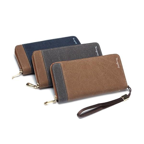 51AJyBUvqxL. SS600  - FANDARE New Billetera Hombre Two-Fold Zipper Viaje Estudiantes Party Comercio Gran Capacidad Wallet Transpirable Lienzo Azul