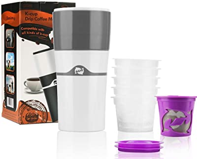 BRBHOM The Original Portable Drip Coffee Maker Travel Mug,Compatible with Refillable K Pods& Single-Serve Capsules,Portable Manual For Office Camping Hot and Cold Coffee Brewer (Drip coffee maker+Disposable K-Cups)