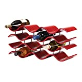 Oenophilia Bali Wine Rack, Crimson -12 Bottle, Solid Wood, Elegant Modern Wine Rack, Table Wine Storage