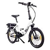 NCM Paris Max Vélo électrique Pliant 20' Blanc, Autonomie Max 100Km, Moteur Central Bafang, Dérailleur Shimano 8 Vitesses, Selle Royale, Pneus Schwalbe, Freins Tektro, Fourche Zoom