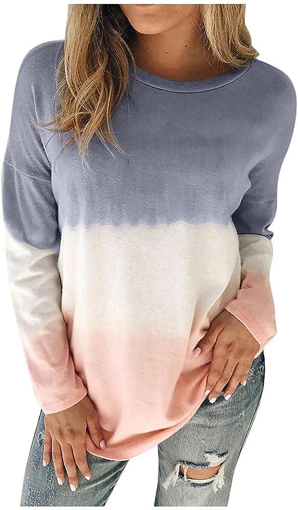 Haheyrte Hoodies for Womens Women Plus Size Tie-Dye Printed Gradient Pullover Long Sleeve Sweatshirt Tops Casual Sweaters