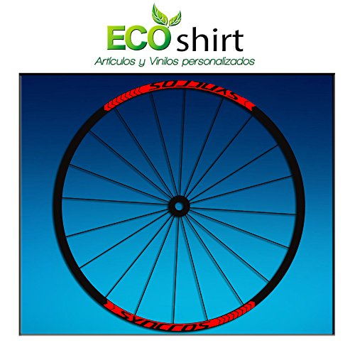 Ecoshirt M5-36JX-LFL2 Pegatinas Stickers Llanta Syncross 27,5' 29' Am47 MTB Downhill, Rojo 26'