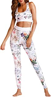 JJLIKER Women High Waist Stretch Yoga Pants Casual Fitness Trouser Elastic Pull-On Leggings +Sports Bra Set 2 Piece
