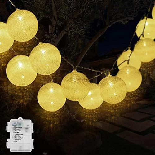 Cotton Ball Lichterkette, DeepDream 4.5m 20 LED Kugeln Lichterkette Baumwollkugeln Lichterkette für Innen, Kinderzimmer, Schlafzimmer, Hochzeit, Party, Festival Deco (Weiß, Batteriebetrieben)