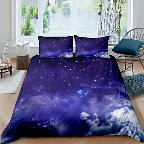 3D Galaxy Comforter Cover Set Navy Blue Starry Sky Bedding Set for Kids Boys Girls Outer Space Theme Duvet Cover Universe Star Bedspread Cover Bedroom Collection 3Pcs King Size
