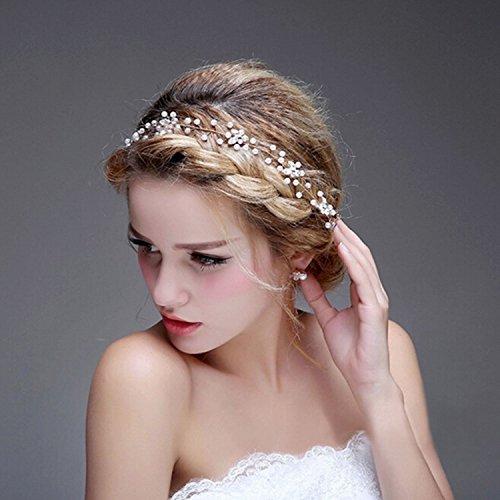 Aukmla Haarband für Hochzeit, Brautschmuck mit Strassbesatz für Frauen und Mädchen