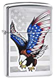 Zippo Flag Design Eagle Pocket Lighter, High Polish Chrome, One Size