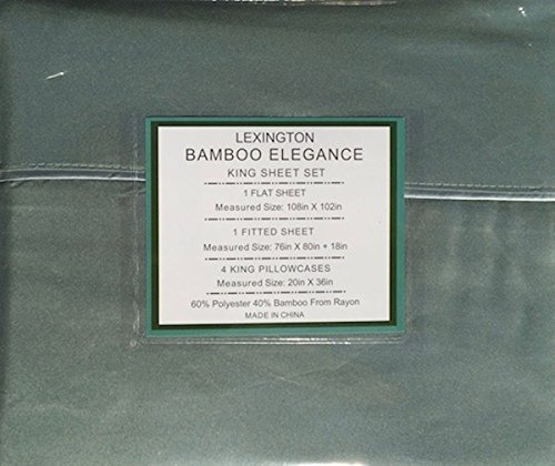 Lexington Bamboo Elegance 2200 Series 18 inch Deep Pocket 6 PC Bed Sheet Sets ECO Friendly - Hypoallergenic and Wrinkle Free (Tree Moss, King)