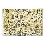Manta Tapiz Para Colgar En Pared,Antiguo mapa pirata del mar Caribe con barcos, Estera Picnic Decoración Sala Estar,60x90'