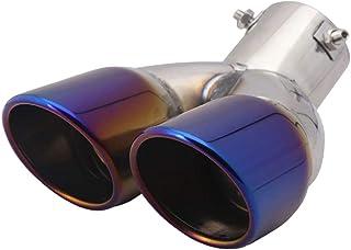 BESPORTBLE Tubo de escapamento de ponta dupla universal silenciador prata
